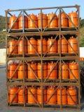 Propane gas bottles at depot. Alora, Spain - July 18. 2017: Propane gas bottles at depot in Andalusian countryside Royalty Free Stock Photo