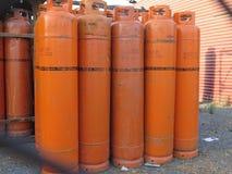 Propane gas bottles at depot. Alora, Spain - July 18. 2017: Propane gas bottles at depot in Andalusian countryside Stock Photography