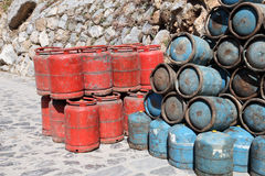 Propane gas bottles in Morocco Royalty Free Stock Photo