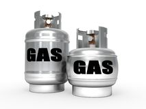 Propane gas tanks. A pair of propane gas tanks Royalty Free Stock Image