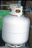 Propane tank. Attached to outdoor grille Royalty Free Stock Image