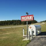 Propane tank on side of road. Stock Image