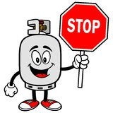 Propane Tank with a Stop Sign. A vector illustration of a propane tank Stock Photos