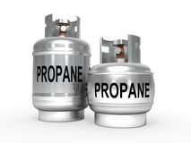 Propane tanks. Two propane metal tanks on white background Royalty Free Stock Photography