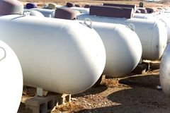 Propane tanks. Many rows of propane tanks in a rural town Royalty Free Stock Photo