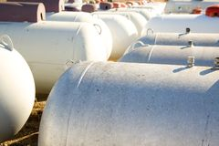 Propane tanks. Many rows of propane tanks in a rural town Stock Photos