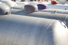 Propane tanks. Many rows of propane tanks in a rural town Royalty Free Stock Photos