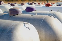 Propane tanks. Many rows of propane tanks in a rural town Stock Image