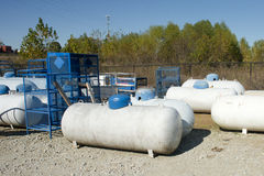 Propane Tanks. At a retail store with racks Royalty Free Stock Images