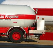 Propane truck tanker and Propane tank  Stock Image