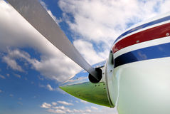 Propeller. Landing runway reflection in propeller Royalty Free Stock Images