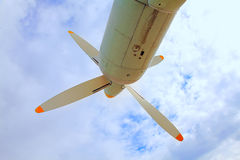 Propeller aircraft against the sky Royalty Free Stock Image