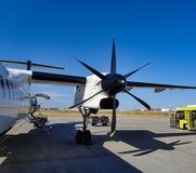 A propeller aircraft at the airport. After departure royalty free stock images