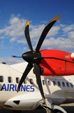 Propeller aircraft ART42 500 in Prague airport Stock Photography