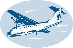 Propeller airplane flying Stock Image