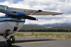 Propeller Airplane at Tahoe Airport Royalty Free Stock Image
