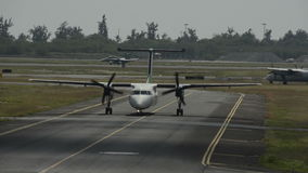 Propeller airplane taxiing stock footage