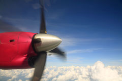 Propeller of the airplane wing moving Stock Images
