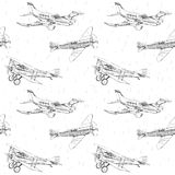 Propeller airplanes seamless pattern Stock Photography