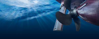 Free Propeller And Rudder Of Big Ship Underway View From Underwater. Close Up Image Detail Of Ship Stock Photos - 157180643
