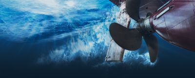 Free Propeller And Rudder Of Big Ship Underway View From Underwater. Close Up Image Detail Of Ship. Matte Toned Royalty Free Stock Images - 157180689