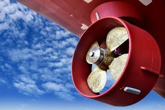 Free Propeller At Stern Ship During Mantenance In Shipyard On Blue Sky Stock Photo - 150801750