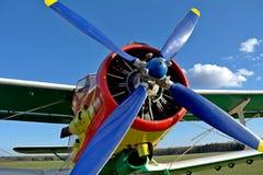 Propeller auf dem blauen Himmel Stockfoto