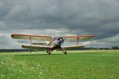 Propeller biplane takeoff Royalty Free Stock Photo