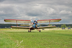 Propeller biplane takeoff Royalty Free Stock Images