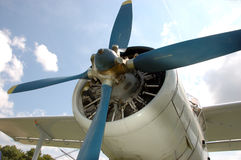 Propeller Engine. Old Russian Biplane against blue sky Stock Photography