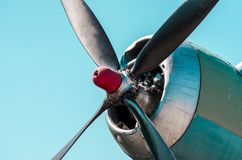Propeller engine of an aircraft. Old piston engine and propeller aircraft Royalty Free Stock Photo