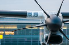 Propeller Engine of the airplane at airport Royalty Free Stock Photos