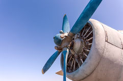 Propeller and engine of old airplane Royalty Free Stock Image