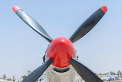 Propeller and engine of vintage airplane Stock Image