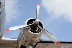 Propeller engine of vintage airplane DC-3 Stock Photography