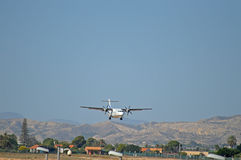 Propeller Engined Plane Landing at Alicante Airport Royalty Free Stock Photography