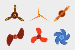 Propeller fan vector wind ventilator equipment air blower cooler rotation technology power circle. Stock Image