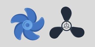 Propeller fan vector wind ventilator equipment air blower cooler rotation technology power circle. Stock Photos