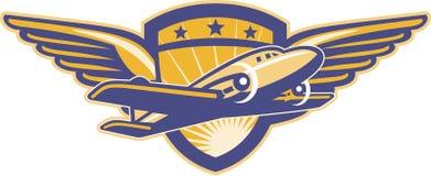 Propeller-Flugzeug-Schild Wings Retro- Lizenzfreie Stockbilder