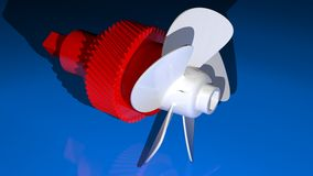 Propeller with gear. A white propeller with a red geared shaft stock illustration