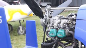 Propeller of  gyrocopter. Propeller rotation of gyrocopter - misfires stock video