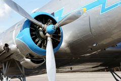 Propeller of historical airplane Lisunov LI-2 Stock Images
