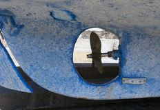 Propeller and keel of an old blue fishing boat Stock Photography