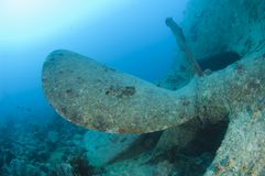 Propeller on a large shipwreck Royalty Free Stock Image