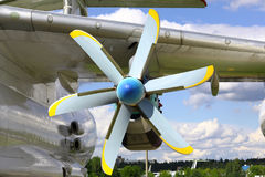 Propeller motor plane on a Sunny day Stock Images