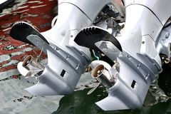 Propeller and motor of yacht. Propeller and motor of a yacht, shown as entertainment, holiday or marine activity Stock Image