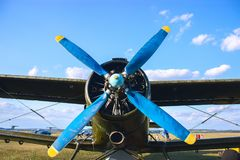 Propeller of old air plain Stock Photos