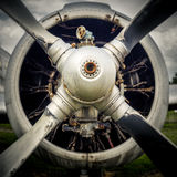 The propeller of an old airplane. Close up shot of old airplane propeller Royalty Free Stock Photos