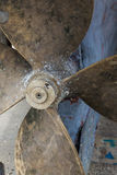 Propeller on old fishing boat. Royalty Free Stock Photo