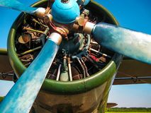 The propeller of the old military aircraft royalty free stock photo